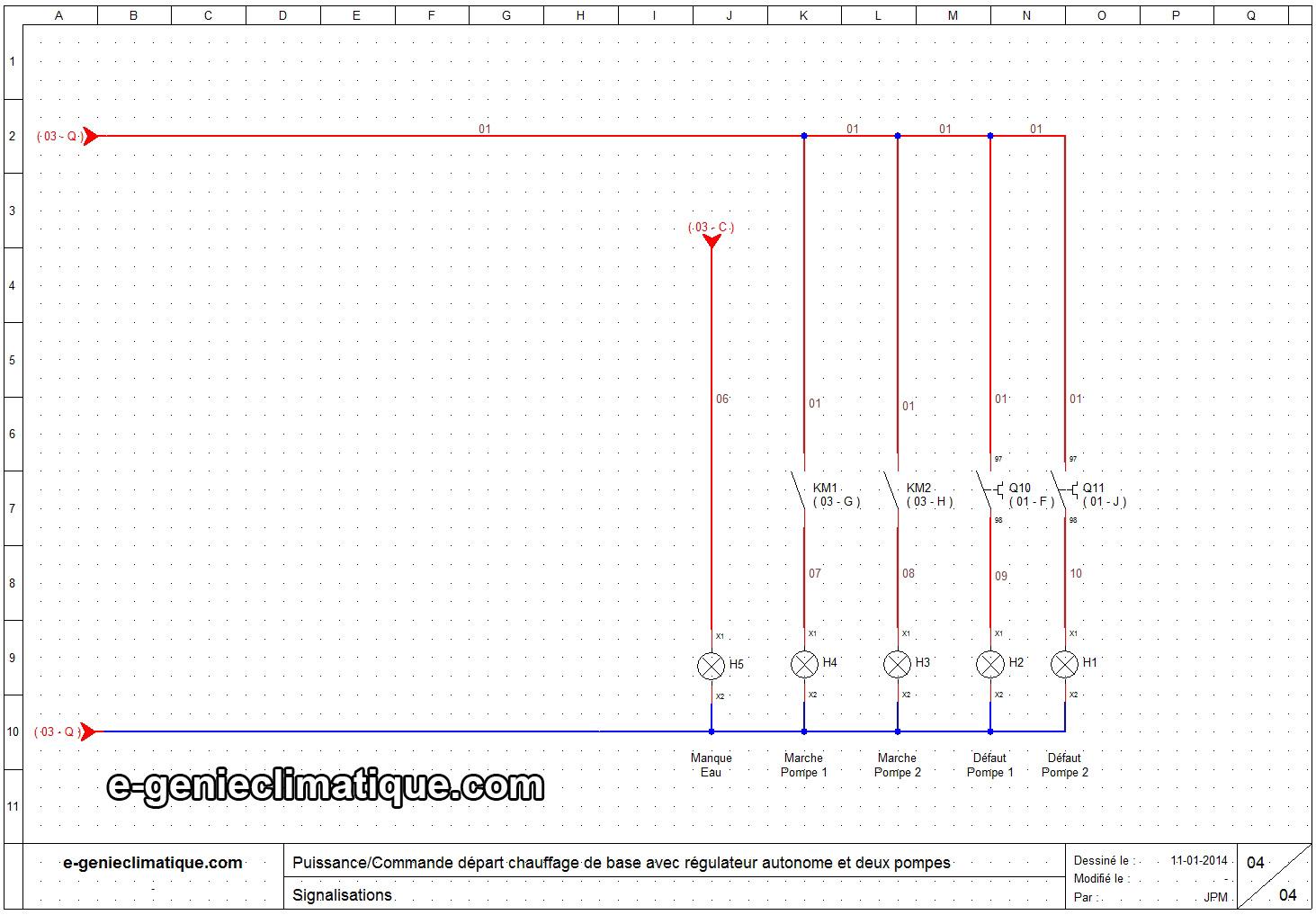 Schéma électrique armoire chaufferie