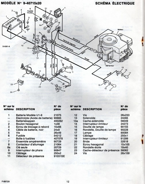 Tracteur tondeuse mtd schema electrique