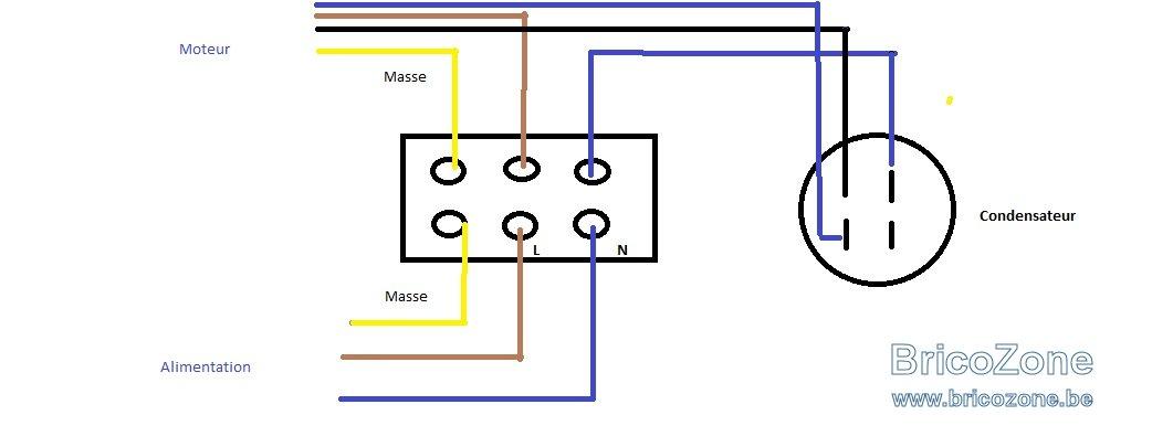 Schema branchement moteur electrique avec condensateur