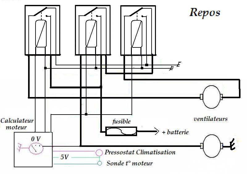 Schema electrique ventilateur refroidissement 306