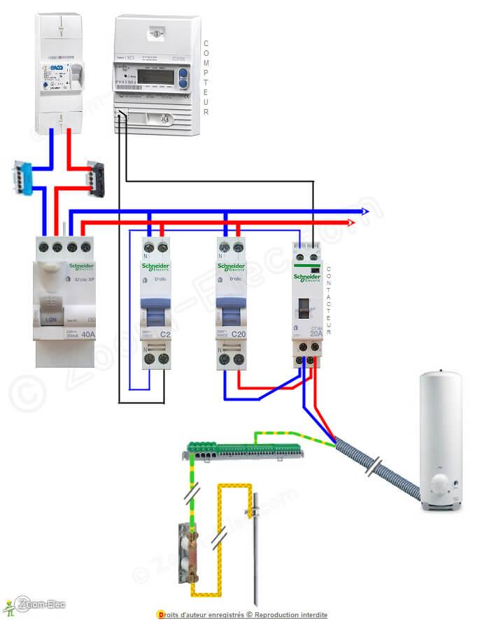 Schema electrique chauffe eau avec horloge digitale
