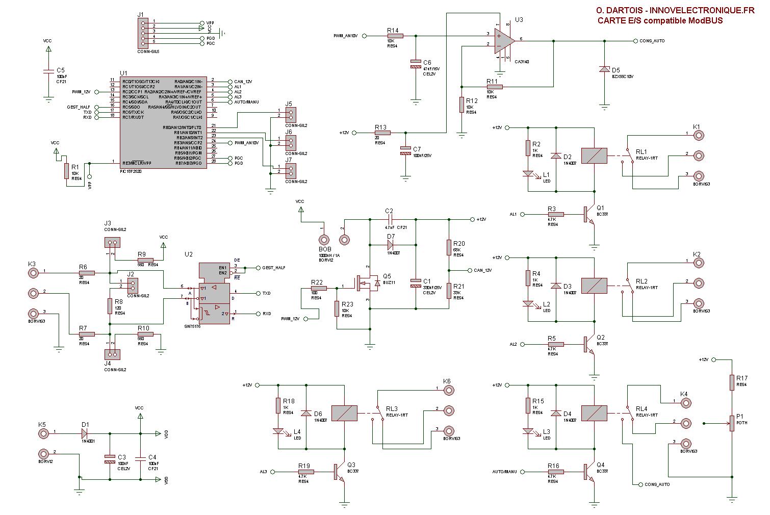 Schéma électrique carte électronique
