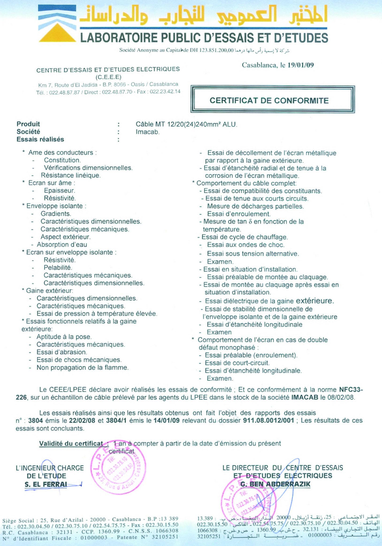 Certificat de conformité norme electrique