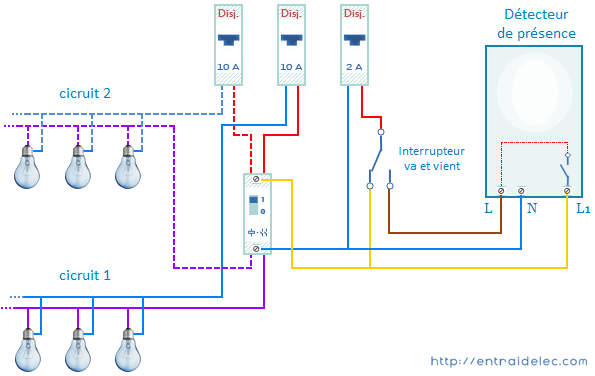 Schema electrique prise et eclairage