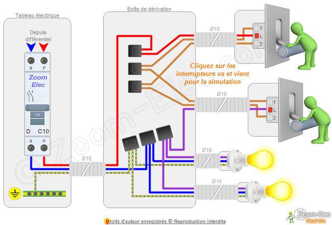 Schéma de circuit électrique va et vient
