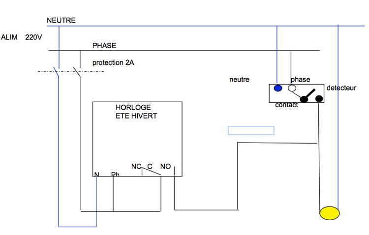 Schema electrique avec detecteur