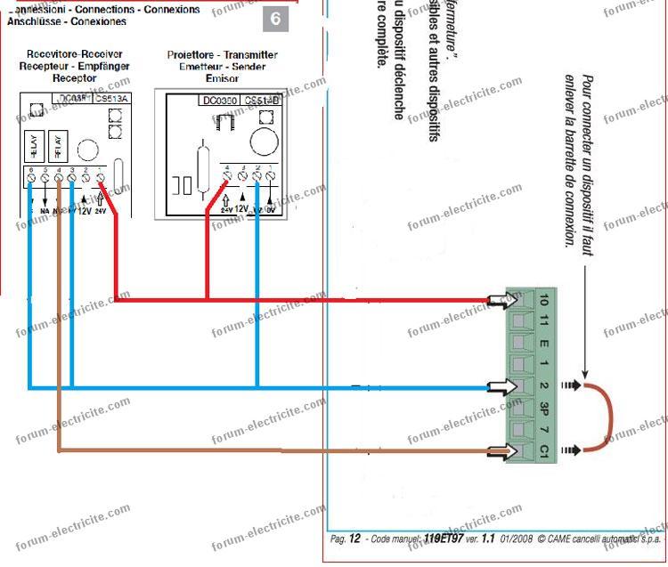 Schema cablage portail electrique came