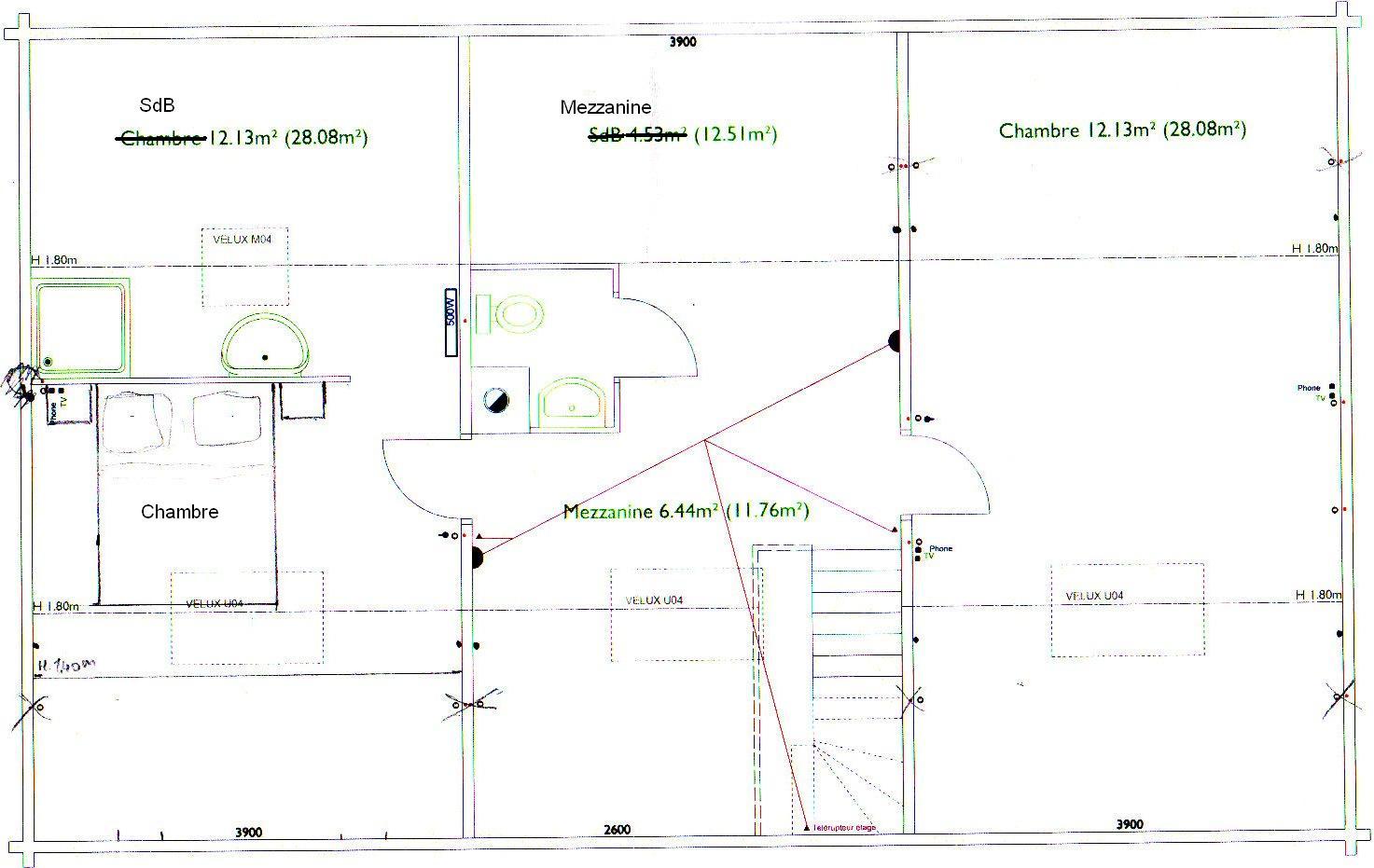 Schéma electrique sur plan de maison