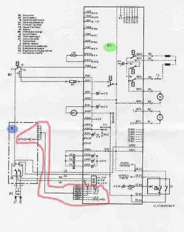 Schema electrique lave linge vedette