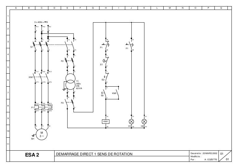 Schema electrique 1 sens de marche